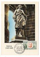 Carte Maximum 1962 - Blaise Pascal - YT 1344 - Clermont-Ferrand  (Réf A1488) - Cartes-Maximum