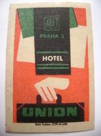 Czechoslovakia  Matchbox Label 1964 - Praha Prague - Hotel Union - Matchbox Labels