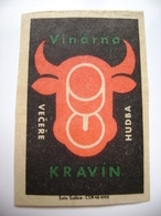 "Czechoslovakia  Matchbox Label 1964 - Praha Prague - Wine Bar ""Kravin"" - Dinners, Music - Matchbox Labels"