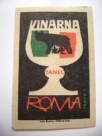 "Czechoslovakia  Matchbox Label 1964 - Praha Prague - Wine Bar ""Roma"" - Dancing - Matchbox Labels"