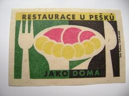 "Czechoslovakia  Matchbox Label 1964 - Praha Prague - Restaurant ""U Pesku"" - Like At Home - Matchbox Labels"