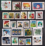 GB 2001-2016 QE2 Selection Of 25 1st & 2nd Class Christmas Used Stamps On Paper ( K1416 ) - Grande-Bretagne