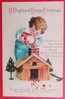 Cpa Signée CLAPSADDLE , ENFANT VERSANT BONBONS Dans  CHEMINEE PETITE MAISON, Cute BOY WITH CANDIES FOR CHRISTMAS  A/s - Clapsaddle