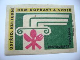Czechoslovakia  Matchbox Label 1964 - Praha Prague - House Of Transport And Communications - Café, Restaurant - Matchbox Labels