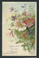 """""""A La Hate, Un Bon Souvenir""""  Belle Composition De Fleurs Grimpantes Et Gui De Noël. Litho Signée Guillot - Fleurs"""