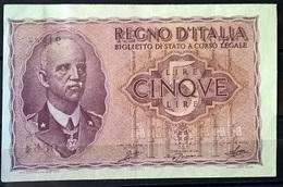 1939 - 5 LIRE FIOR DI STAMPA - [ 1] …-1946 : Regno