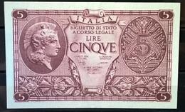 1944 - 5 LIRE FIOR DI STAMPA - [ 1] …-1946 : Regno