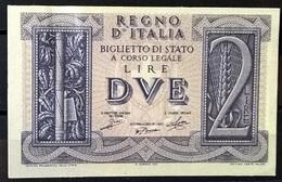 1939 - 2 LIRE FIOR DI STAMPA - [ 1] …-1946 : Koninkrijk