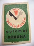 "Czechoslovakia  Matchbox Label 1964 - Praha Prague - Automat ""Koruna"" - Eatery - Quickly And Well - Matchbox Labels"
