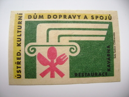 Czechoslovakia  Matchbox Label 1964 - House Of Transport And Communications - Café, Restaurant - Matchbox Labels