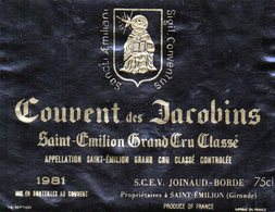 Etiquette (12,4 X9,5) Couvent Des Jacobins  1981 St Emilion Grand Cru Classé  SCEV Joinaud-Borde à St Emilion 33 - Bordeaux