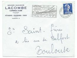 ENVELOPPE MARIANNE DE MULLER / CAPDENAC AVEYRON / 1958 / MAGASIN LACOMBE - Storia Postale