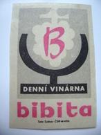 "Czechoslovakia  Matchbox Label 1964 - Praha Prague - Daily Wine Bar ""Bibita"" - Matchbox Labels"