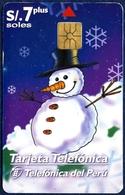 PERU CHIP PHONECARD TELEPHONE CARD TELECARTE TELEFONKARTE NEW YEAR SNOWMAN GOOD - Peru