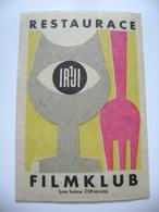 "Czechoslovakia  Matchbox Label 1964 - Praha Prague - Restaurant ""Filmklub"" - Matchbox Labels"