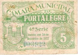 CÉDULA DA CÂMARA MUNICIPAL DE PORTALEGRE - 5 CENTAVOS. - Portugal