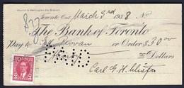 Canada Toronto 1938 / The Bank Of Toronto Cheque - Chèques & Chèques De Voyage