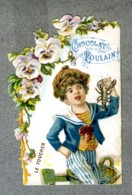 Chromo Poulain Dentelle 5 Sens Le Toucher Feel 5 Senses Pens�es Pansy Lace Card - Poulain