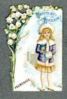 Chromo Poulain Dentelle Muguet Lily-of-the-valley Promenade Hiver Winter Girl - Poulain