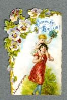 Chromo Poulain Dentelle A Califourchon Enfants Pens�es Pansy Lace Trade Card - Poulain