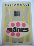 "Czechoslovakia  Matchbox Label 1964 - Praha Prague - Restaurant ""Manes"" - Matchbox Labels"