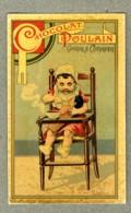 Chromo Poulain Petite Fille Poup�e Chaise Haute Dinette Doll Vintage Trade Card - Poulain
