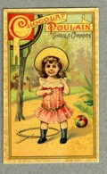 Chromo Poulain Petite Fille Little Girl Jouets Toys Cerceau Hoop Old Trade Card - Poulain
