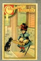 Chromo Poulain Train Wagon Chien Dog Girl Valise Case Rail Coach Old Trade Card - Poulain