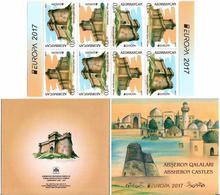 Azerbaijan. EUROPA 2017(Castle). Booklet Of 8 (4 Partly Imperf Pairs). Michel # 1193-94D  MH - Azerbaïjan