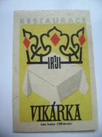 "Czechoslovakia  Matchbox Label 1964 - Praha Prague - Restaurant ""Vikarka"" - Matchbox Labels"