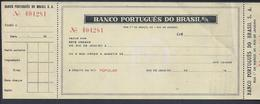 Cheque Do Banco Português Do Brasil. Rio De Janeiro. Check Of Banco Português Do Brasil. - Chèques & Chèques De Voyage