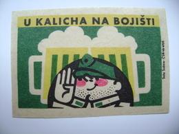 """Czechoslovakia  Matchbox Label 1964 - Praha Prague - Pub / Inn """"U Kalicha"""", Na Bojisti - Beer Bier Biere Schwejk Svejk - Matchbox Labels"""