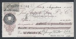 Cheque Da Casa Bancária José Augusto Dias Fº & Cª, Do Porto. Cheque Com Adicional Do Selo Do Cheque.1921.Muito Raro - Assegni & Assegni Di Viaggio