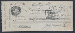 Cheque Da Casa Bancária José Augusto Dias Fº & Cª, Do Porto. Cheque Da Agência De Lisboa Pago Em 1921. Raro. - Assegni & Assegni Di Viaggio