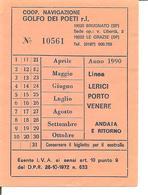 1990 - MOTONAVE Percorso LERICI-PORTO VENERE Andata-ritorno - Europa