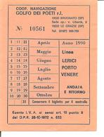 1990 - MOTONAVE Percorso LERICI-PORTO VENERE Andata-ritorno - Billets D'embarquement De Bateau