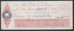 Cheque Da Casa Bancária José Augusto Dias Fº & Cª, Do Porto. Pago Em 1915. Raro. - Chèques & Chèques De Voyage