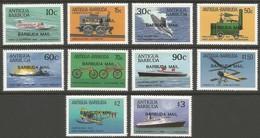 1987 Barbuda Transportation Innovations: Ships, Aviation, Cars, Railway Set (** / MNH / UMM) - Transport