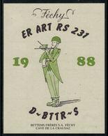 Rare // Etiquette De Vin // Militaire // Féchy, ER Art RS 231 1988 D-BTTR-S - Militaire