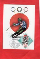 Carte Postale - MONACO - Jour D'Emission 24.04.72 - JEUX OLYMPIQUES D'HIVER - TIMBRE - Winter Sports