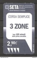ITALIA - Biglietto Autobus Modena SETA Corsa Semplice 3 Zone - Bus
