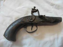 Ancien Pistolet Silex Poudre Noire XIX - Armes Blanches