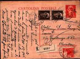 71169) INTERO POSTALE RACCOMANDATA DA 60C.TURRITA+2X1.20 L.TURRITA+ 4L. DEMOCRATICA DA MESSINA PER CITTà IL 4-9-1946 - 6. 1946-.. Repubblica