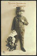 ENFANT - Garçonnet En Uniforme, Avec Fleurs Et Lettre - Circulé  - Circulated - Gelaufen - 1912. - Enfants