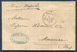 1881 Italy Genova Alberto Nattini Entire Via Napoli - Mauritius - 1878-00 Umberto I