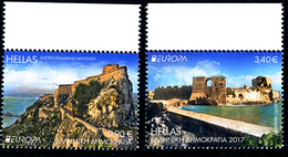 """GREECE/Griechenland, EUROPA 2017 """"Castles"""" Set Of 2v From Ordinary Sheets** - 2017"""