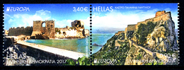 """GREECE/Griechenland, EUROPA 2017 """"Castles"""" Set Of 2v Pair From Booklet** - 2017"""