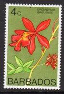 BARBADOS - 1974 4c ORCHID STAMP WMK W12 S/W FINE MNH ** SG 488 - Barbados (1966-...)
