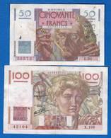 France  2  Billets - 1871-1952 Anciens Francs Circulés Au XXème