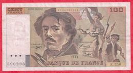 """100 Francs """"Delacroix"""" 1993---F/TTB+---Série K.250 - 1962-1997 ''Francs''"""